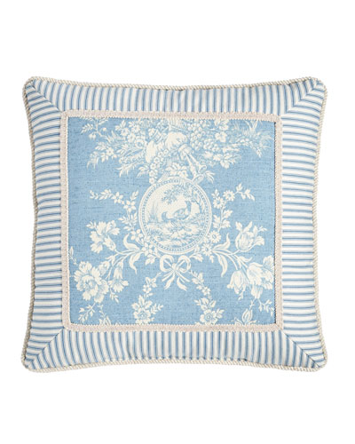 Framed Country Manor Toile-Print Pillow, 18