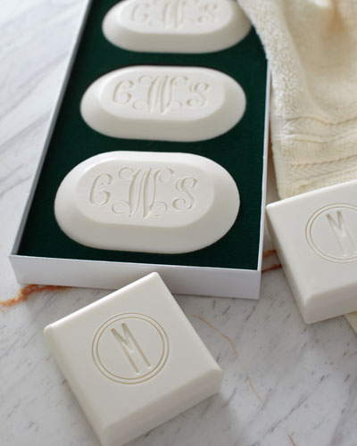 Three Square Soaps with Single Initial
