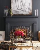 Golden Branch Fireplace Screen & Log Holder &