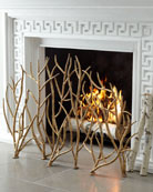 Golden Branch Fireplace Screen & Log Holder &