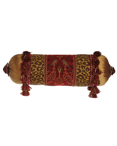 Bohemian Rhapsody Neckroll Pillow with Golden Silk Ends, 7