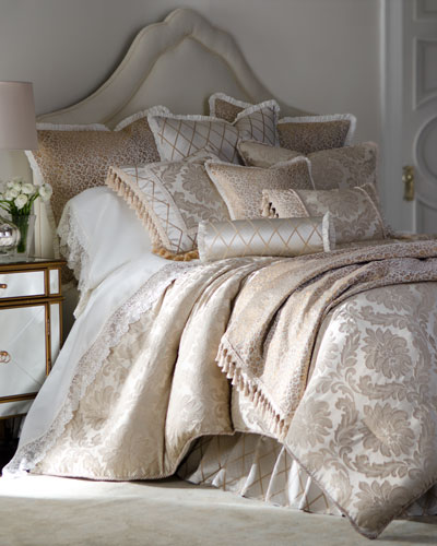 Darby King Damask Sham with Cording