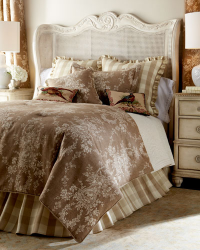 Country House Toile/Check Reversible Pillow, 18