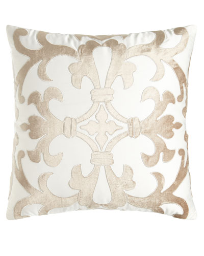 Jackie Velvet Applique Pillow, 22