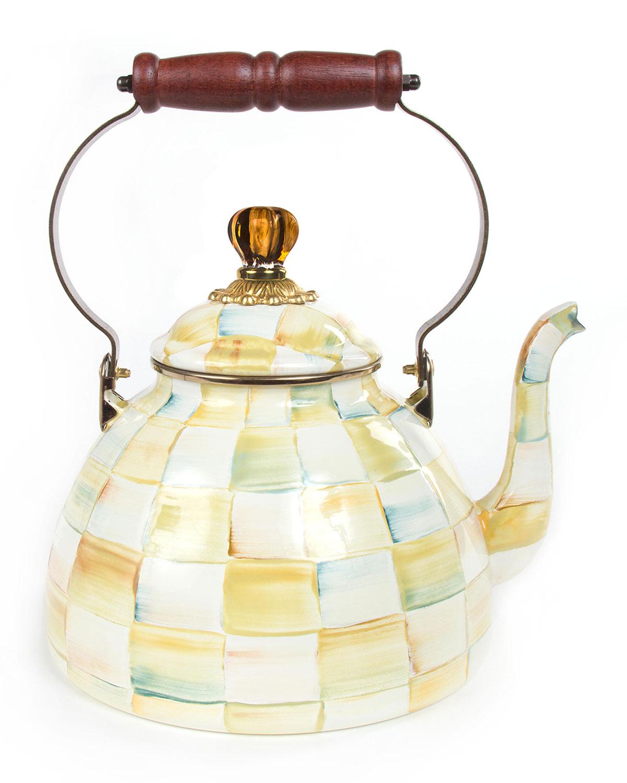 Parchment Check 3-Quart Tea Kettle