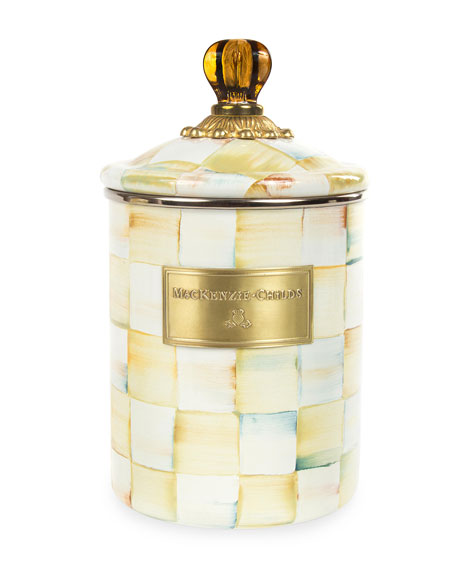 MacKenzie-Childs Parchment Check Medium Canister