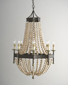 Wood Bead 8-Light Chandelier