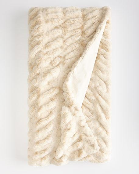 Fabulous Furs Ivory Faux-Mink Throw