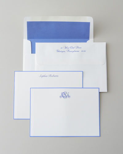 25 Periwinkle-Bordered Cards with Plain Envelopes