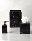 Luna Black Marble Wastebasket