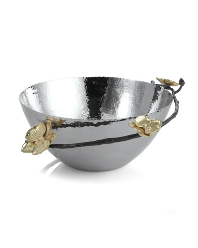 Gold Orchid Serving Bowl