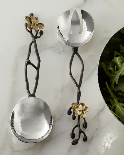 Two-Piece Gold Orchid Serving Set
