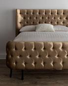 """Taupe Velvet """"Larkspur"""" King Bed"""