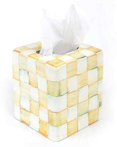 Parchment Check Tissue Box Cover