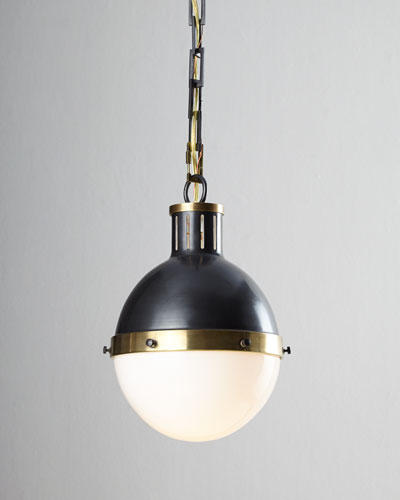 Hicks 1-Light Small Bronze with Antiqued-Brass Pendant
