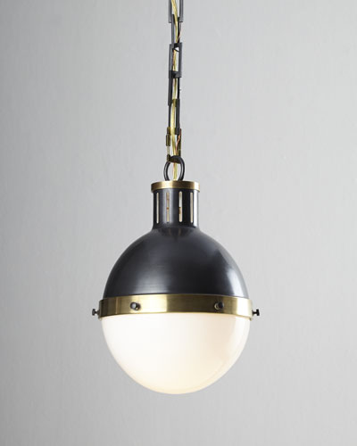 Hicks 2-Light Large Bronze with Antiqued Brass Pendant