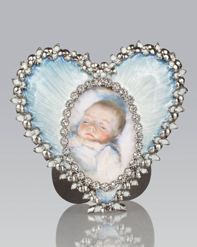 Dominique Pale Blue Oval in Heart Frame