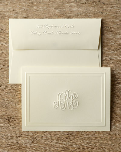 25 Monogrammed Embossed Folded Notes with Plain Envelopes