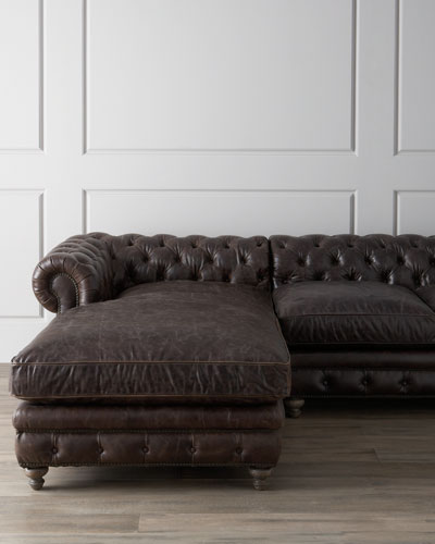 Warner Leather Collection Chesterfield Sectional Sofa