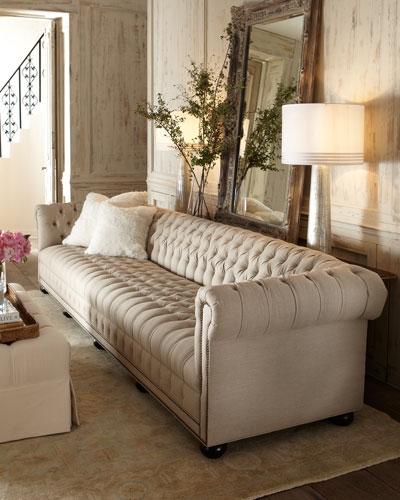 Hudson Tufted-Linen Sofa, 93