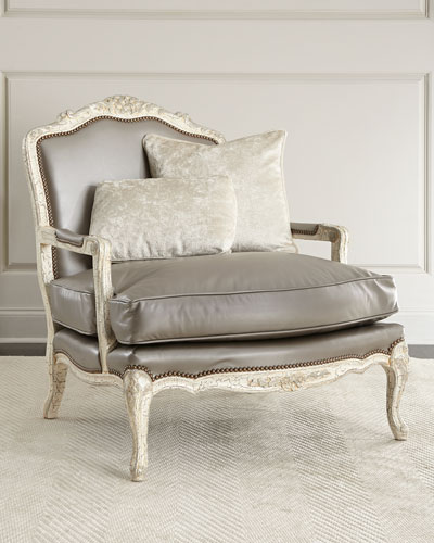 Silver Leather Bergere Chair