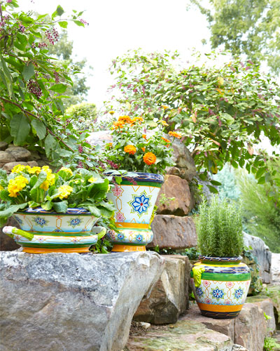 Moroccan Tile Tall Planter