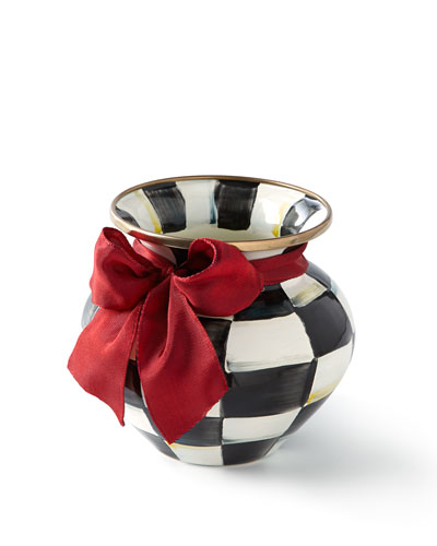 Courtly Check Vase with Red Ribbon