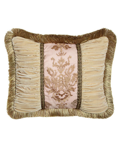 Alessandra Pillow with Ruched Velvet Sides & Brush Fringe, 16