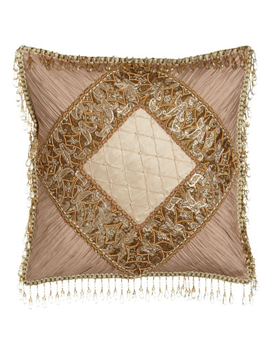 Alessandra Pillow with Shirred Silk Corners & Bead Embellishment, 16