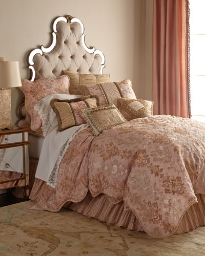 Queen Alessandra Scalloped Damask Duvet Cover