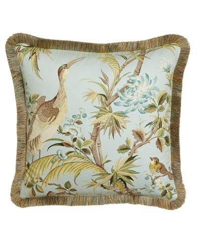 Egret Fringed Pillow, 20