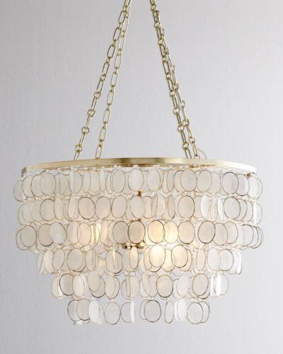 Aurora 3-Light Capiz Shell Golden Chandelier