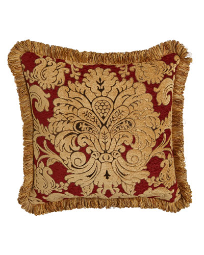 Bellissimo Square Chenille Pillow with Fringe, 20