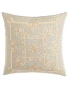 """Como Embroidered Linen Pillow, 22""""Sq."""