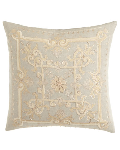 Como Embroidered Linen Pillow, 22