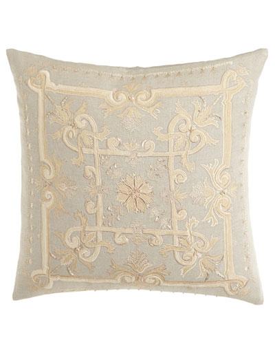 Como Embroidered Linen Pillow, 22