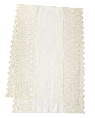 Annabelle Lace-Edged Bed Scarf, 30