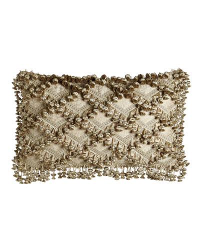 Kensington Garden Matelasse/Leopard Pillow with Beaded Scalloped Ends, 25