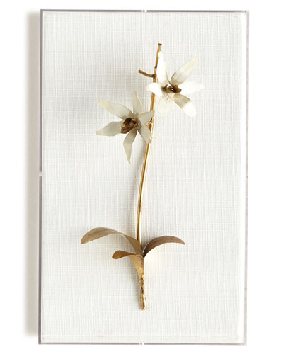Original Gilded Orchid on White Linen