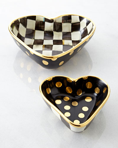 Large Courtly Check Heart Bowl