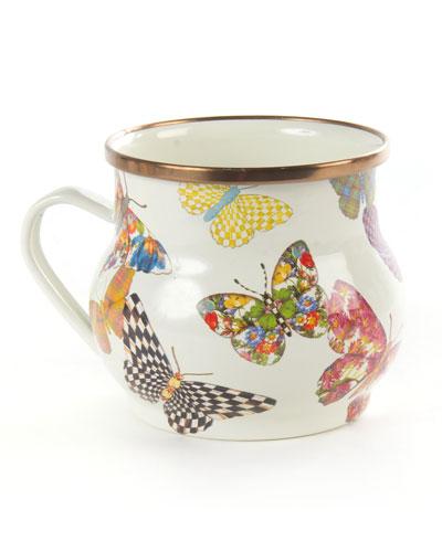 White Butterfly Garden Mug