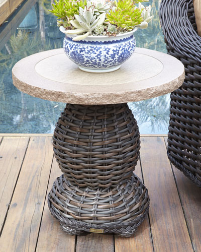 Madison Dark Outdoor Pedestal End Table