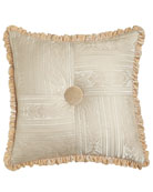 "Le Creme Maison Pieced Pillow with Velvet Button & Ruffle, 20""Sq."
