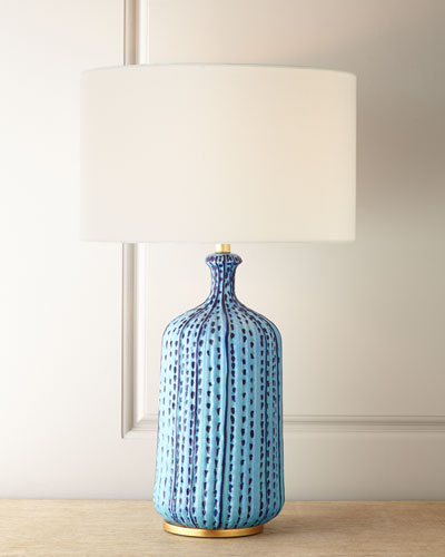 Culloden Pebbled Aquamarine Table Lamp