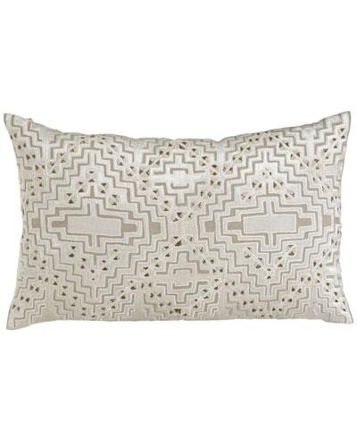 Vincent Linen Pillow with Beaded Velvet Design, 30