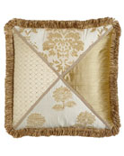 """Antoinette Pieced Pillow with Loop Fringe, 20""""Sq."""