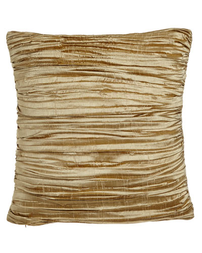 Antoinette Pleated Silk Pillow with Feather/Down Insert, 18
