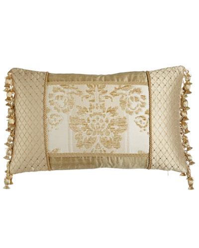 Antoinette Pieced Boudoir Pillow with Side Onion-Tassel Fringe, 13