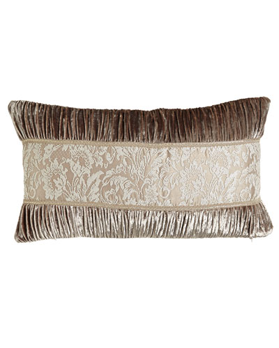 French Chantilly Ruched Velvet Pillow with Lace Center, 15