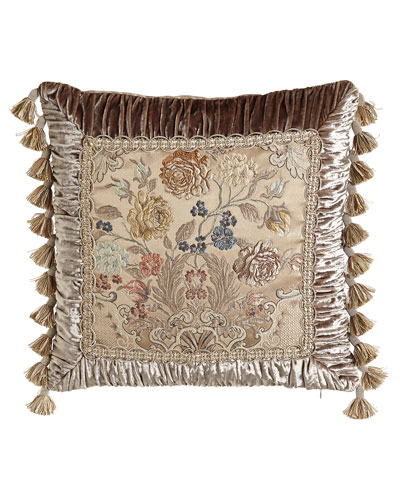 French Chantilly Floral Brocade Pillow with Ruched Velvet Frame & Tassel ...